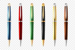 Affaires Pen Transparent Icon Set Image stock