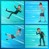 Affaires Person Go Against Wind, tombant vers le bas vecteur Contre des obstacles Sens opposé Adversaire, finances Miskate Illustration de Vecteur