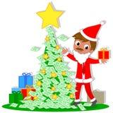 Affaires Santa avec l'arbre de Noël d'argent Image libre de droits