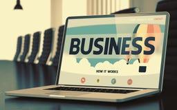Affaires sur l'ordinateur portable dans la salle de conférence 3d Photo libre de droits