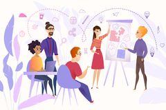 Affaires Team Brainstorming Cartoon Vector Concept illustration de vecteur