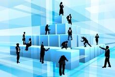 Affaires Team People Building Blocks de silhouette Photographie stock libre de droits