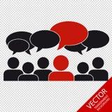 Affaires Team With Speech Bubbles - media social - d'isolement sur le fond transparent Images stock