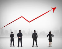 Affaires Team Watching Sales Grow Up Image stock