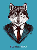 Affaires tirées par la main Wolf Poster Images stock