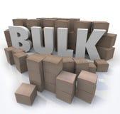 Affare all'ingrosso la parola quantità del volume del prodotto di molte scatole Fotografie Stock