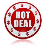 Affare caldo con i simboli di dollaro nell'etichetta rossa bianca del cerchio Immagine Stock