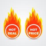 Affare caldo e bottoni caldi di prezzi Immagini Stock Libere da Diritti