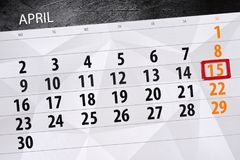 Affare calendario pagina 2018 il 15 aprile quotidiano Immagini Stock