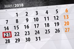 Affare calendario pagina 2018 il 21 maggio quotidiano Immagine Stock