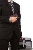 Affare che viaggia tirando valigia Immagini Stock Libere da Diritti