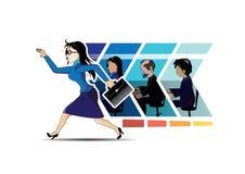 Affare commovente della donna di affari in avanti Immagini Stock Libere da Diritti