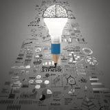 Affare creativo di progettazione come lampadina 3d della matita come affare Fotografie Stock Libere da Diritti