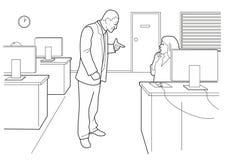 Affare del fumetto Diriga arrabbiato e la donna impauriti in ufficio aperto Illustrazione nera isolata su fondo bianco Fotografia Stock