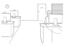 Affare del fumetto Lavoro della donna in ufficio aperto Illustrazione nera isolata su fondo bianco Immagine Stock