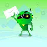 Affare del messaggio di posta in arrivo del email della busta della tenuta del robot Fotografia Stock Libera da Diritti