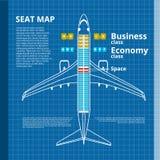 Affare dell'aeroplano o modello di contorno bianco della mappa di Seat della classe economica fotografie stock libere da diritti
