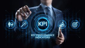 Affare dell'indicatore di efficacia chiave di KPI e concetto industriale di analisi sullo schermo royalty illustrazione gratis