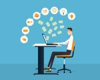 Affare della gente che fa guadagno del fondo online di concetto di idea Immagine Stock Libera da Diritti