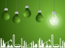 Affare della lampadina su industria moderna di successo verde del fondo royalty illustrazione gratis