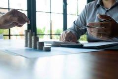 Affare della moneta di simbolo, finanza, crescita finanziaria, investimento che si consulta, finanza, investimento, affare, lavor fotografie stock