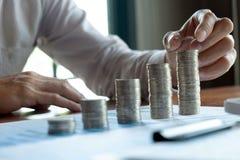 Affare della moneta di simbolo, finanza, crescita finanziaria, investimento che si consulta, finanza, investimento, affare, lavor immagine stock