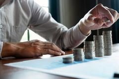 Affare della moneta di simbolo, finanza, crescita finanziaria, investimento che si consulta, finanza, investimento, affare, lavor immagine stock libera da diritti