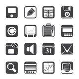 Affare della siluetta, ufficio ed icone di finanza Fotografie Stock Libere da Diritti