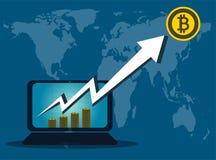 Affare di Bitcoin, freccia su dallo schermo di computer sul mondo della mappa del fondo illustrator royalty illustrazione gratis