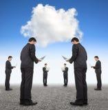 Affare di cooperazione e concetto di calcolo della nuvola Fotografia Stock