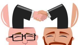 Affare di mentalità aperta di handshake degli uomini isolato Fotografia Stock