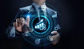 Affare di ottimizzazione di aumento dell'indicatore di efficacia chiave di KPI e processo industriale fotografia stock libera da diritti