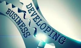 Affare di sviluppo - testo sul meccanismo degli ingranaggi brillanti del metallo 3d Immagini Stock Libere da Diritti