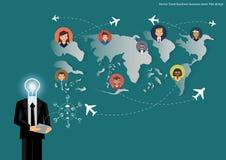 Affare di viaggio di vettore, gruppo di affari Progettazione piana Fotografia Stock Libera da Diritti