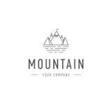 Affare di viaggio e di avventura del modello di logo di vettore della montagna Distintivo all'aperto dell'esploratore Illustrazio Fotografia Stock Libera da Diritti