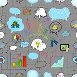 Affare e bolla parlante, disegno della mano Immagini Stock Libere da Diritti