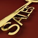 Affare e commercio elettronico di rappresentazione chiave di vendite Immagini Stock