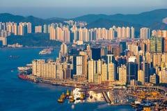 Affare e grattacielo residenziale a Victoria Harbour di Hong Kong Fotografia Stock