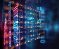Affare ed icona di apprendimento sul fondo blu di tecnologia Fotografia Stock