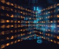 Affare ed icona di apprendimento sul fondo blu di tecnologia Immagine Stock