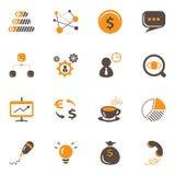 Affare ed icone finanziarie messi Fotografia Stock Libera da Diritti