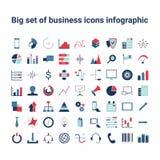Affare ed insieme infographic dell'icona Fotografie Stock