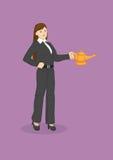 Affare Genie Wish Vector Illustration della donna illustrazione di stock