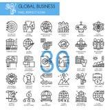 Affare globale, linea sottile icone messe illustrazione di stock