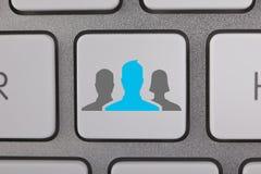 Affare Gray People blu sulla tastiera Fotografie Stock Libere da Diritti