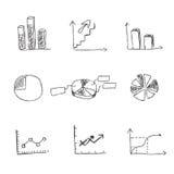 Affare, icona, insieme, schizzo, disegno della mano, vettore, illustrazione Fotografia Stock