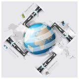 Affare Inf della mappa di mondo di viaggio e di viaggio della pista della via e della strada Fotografia Stock Libera da Diritti