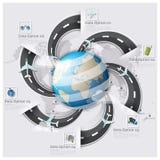 Affare Inf della mappa di mondo di viaggio e di viaggio della pista della via e della strada Fotografia Stock