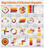 Affare infographic del modello della raccolta mega Immagini Stock