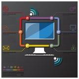 Affare Infographic di cronologia del collegamento di comunicazione del computer Immagine Stock Libera da Diritti